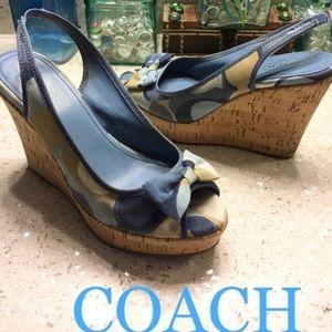 Coach Gwynnie Blue Bow Cork Wedges 9.5